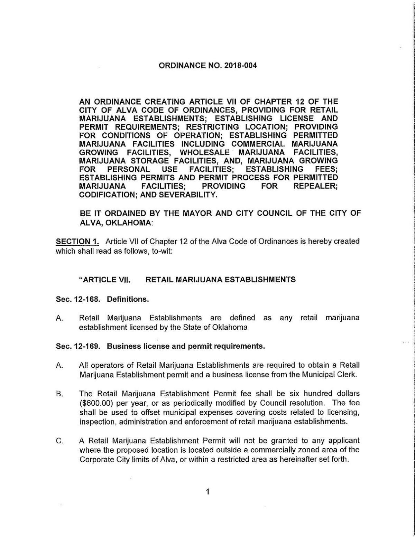 Document: Alva medical marijuana ordinance