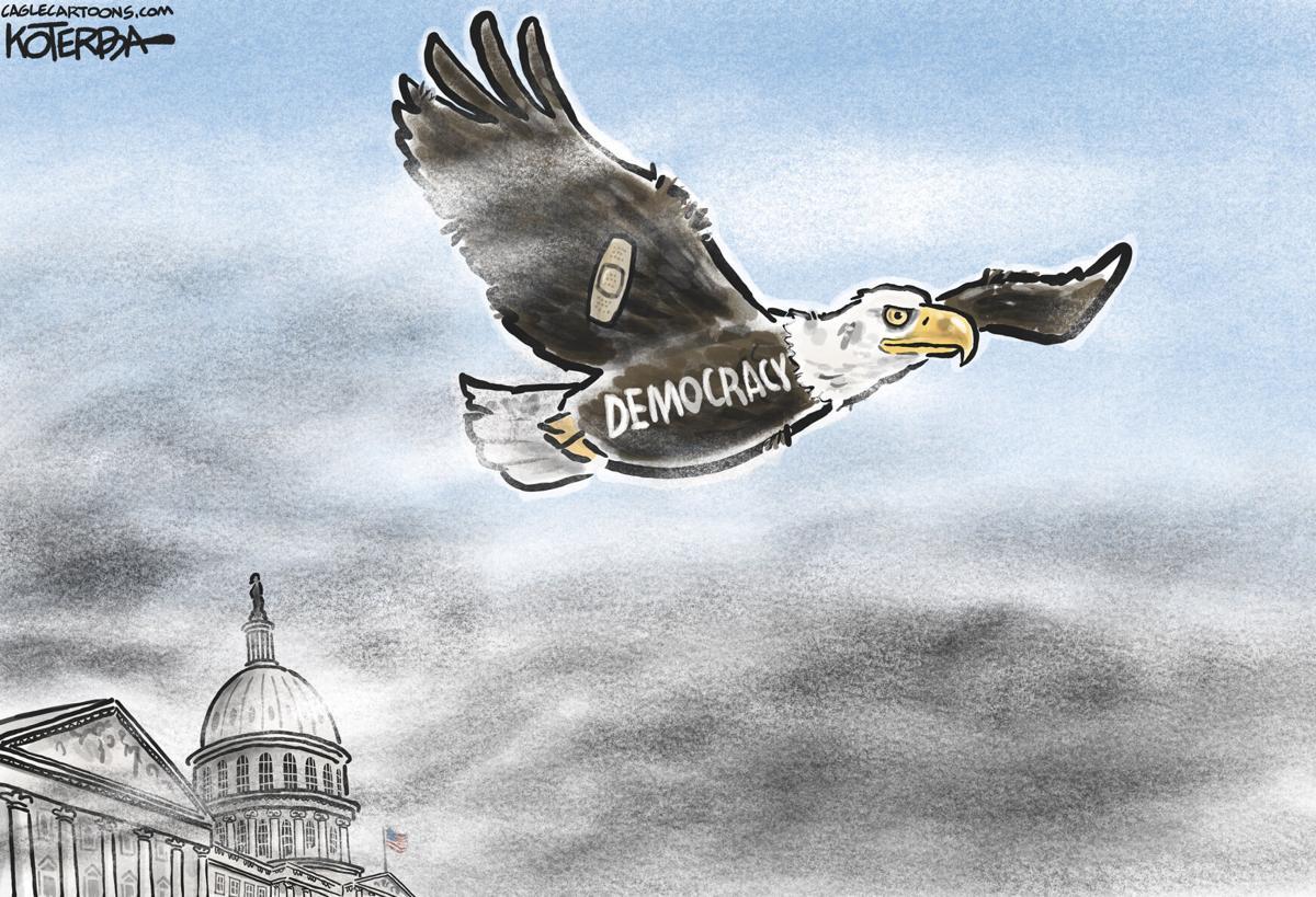 Syndicated Cartoon: Democracy's Return to Flight by Jeff Koterba