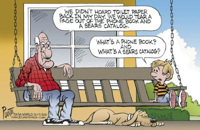 Bruce Plante Cartoon: Toilet paper back in my day...
