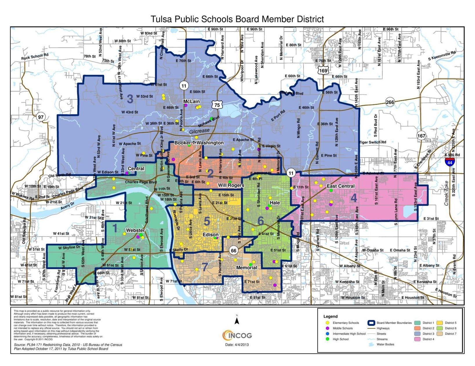 Tulsa Public Schools district boundary map tulsaworldcom