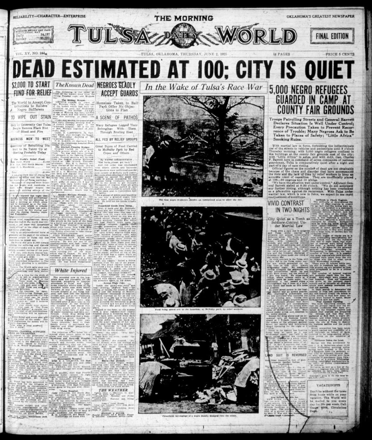 Tulsa Race Riot: June 2, 1921: Read The Tulsa World's Account Of The Tulsa