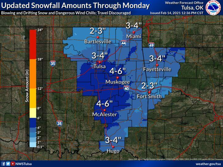 NWS snowfall update