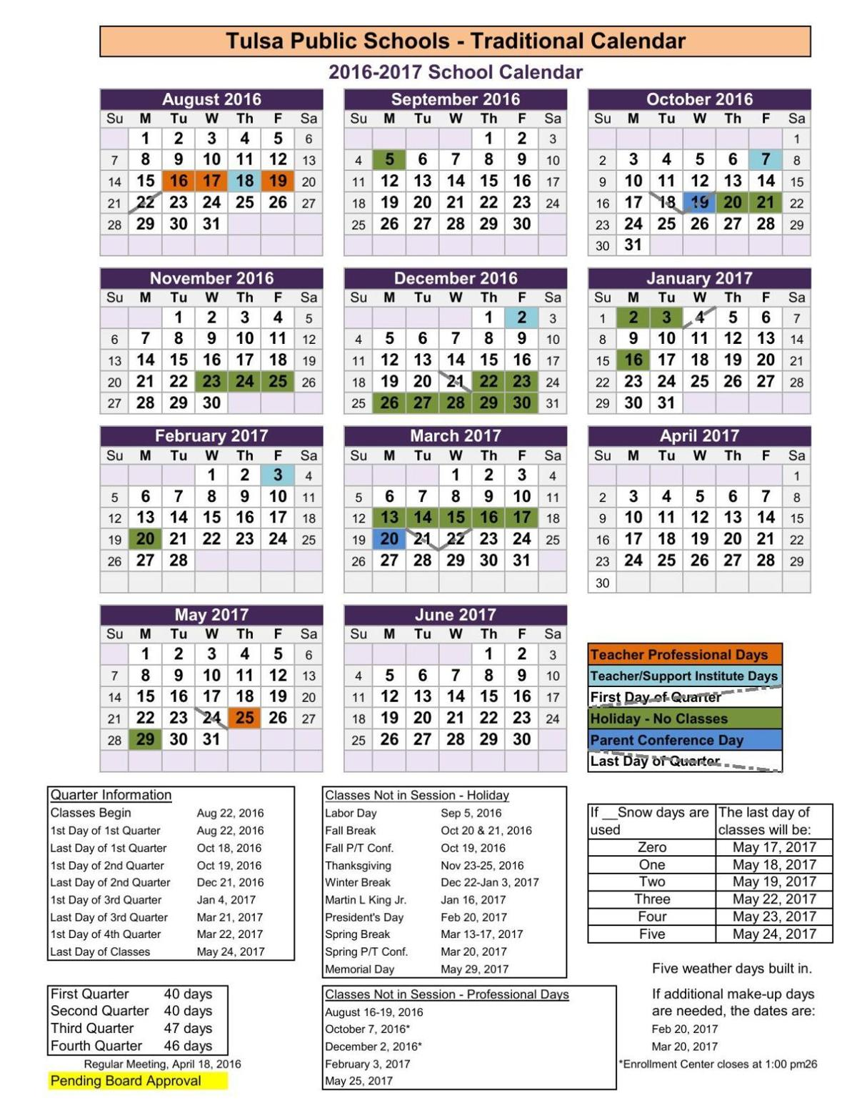 Tulsa Public Schools Revised 2016 17 Academic Year Calendar