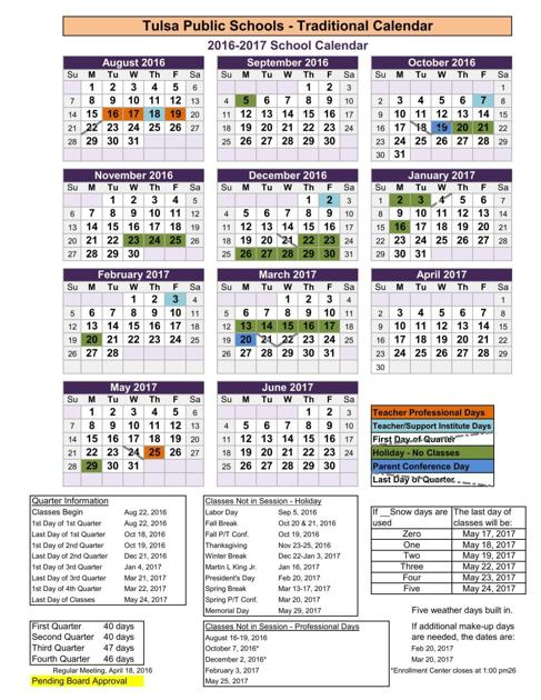 Tulsa Public Schools Revised 2016 17 Academic Year