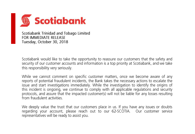 Scotiabank Responds to Card Skimming Rampage | Local News | tv6tnt com