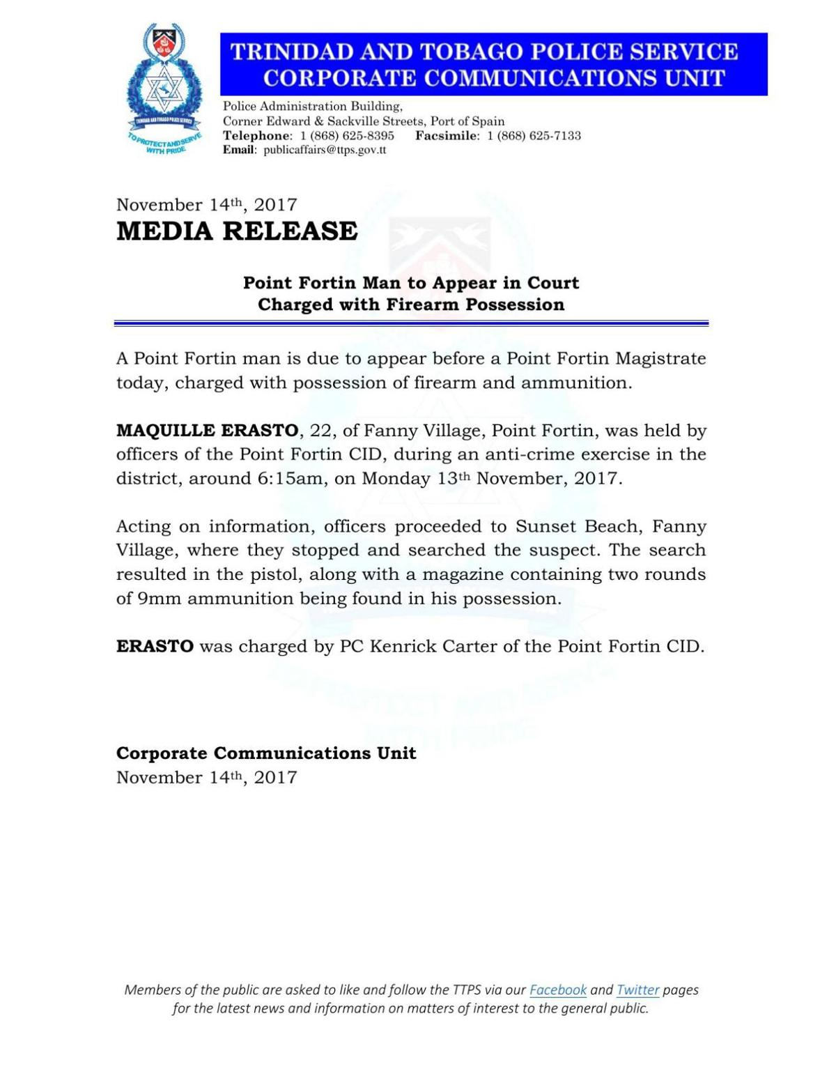 Media Release- Point Fortin Man to Appear in Court Charged with