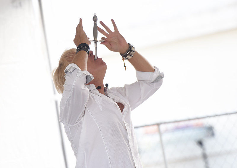 America's Got Talent finalist, Sword swallower Dan Meyer, performs daily shows at East Texas State Fair