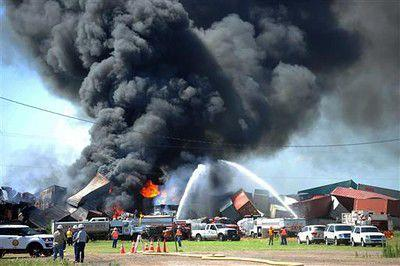 Crews fighting blaze at the Texas Panhandle train collision site with 3 missing