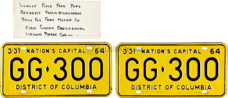 License plates from limo JFK was in when he was shot sell for $100K