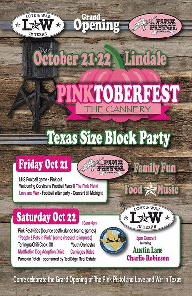 Pinktoberfest events set for The Cannery Lindale, The Pink Pistol, Love and War in Texas