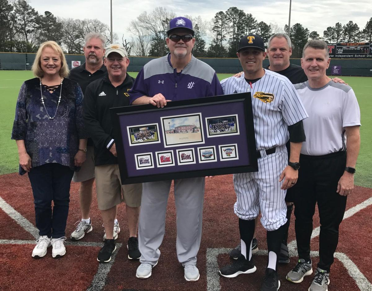 e9917cbf3f8b Longtime Joliet Junior College baseball coach Wayne L. King Jr. (center)  was honored prior to Sunday s doubleheader with Tyler Junior College at  Mike Carter ...
