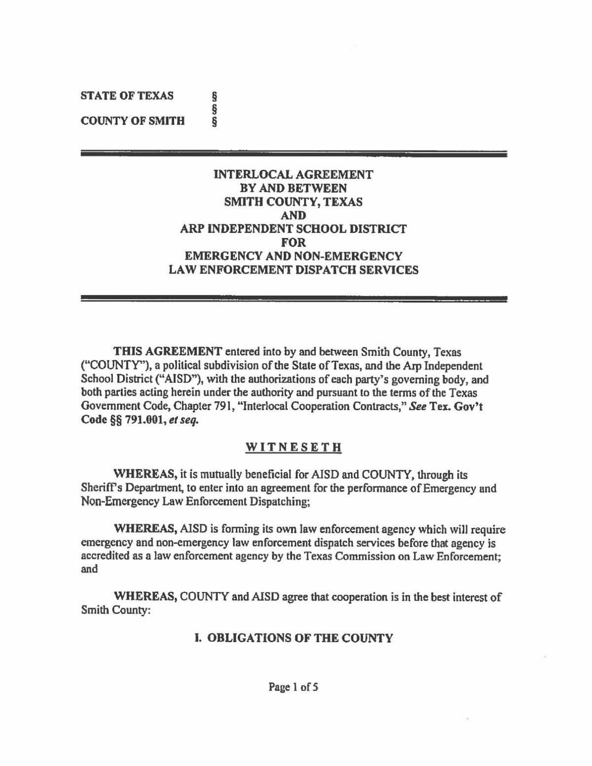 Arp Isd Contract For Dispatch With Smith County Tylerpaper