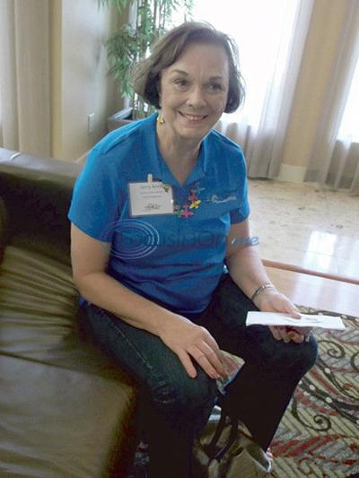 Conference attendees discuss Amelia Earhart