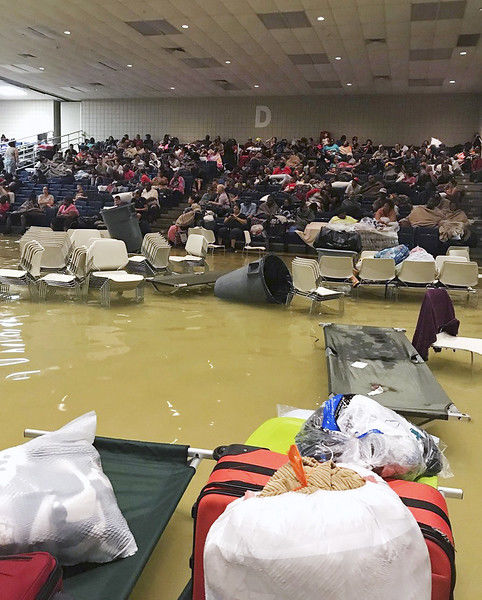 Harvey pays a return visit, swamps evacuee shelter in Texas