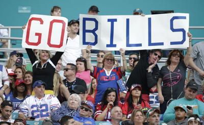 Buffalo Bills fans celebrate in Miami