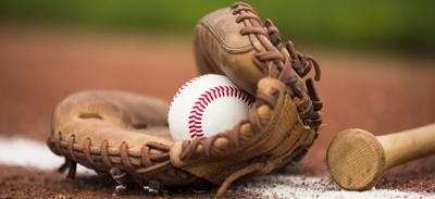 Baseball glove, ball, bat