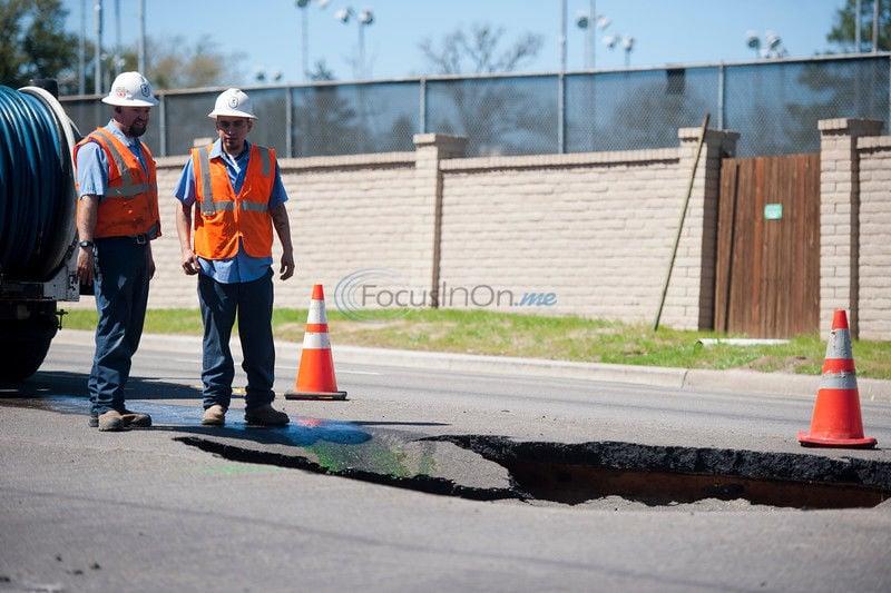 UPDATE: Crews repair 8-foot sinkhole