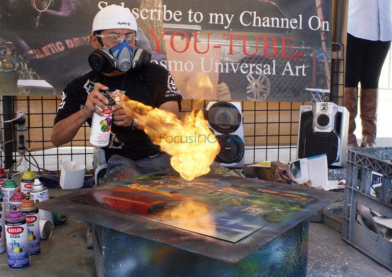 Spray Away: Artist puts talent, showmanship on display