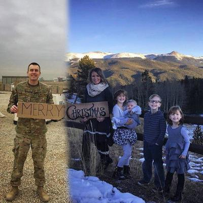 Military wife gets creative for family Christmas photo