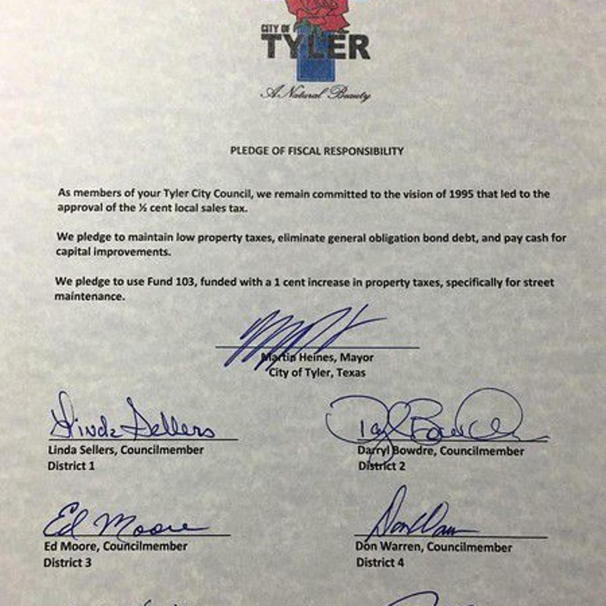 Tyler City Council members sign pledge to dedicate 1-cent of