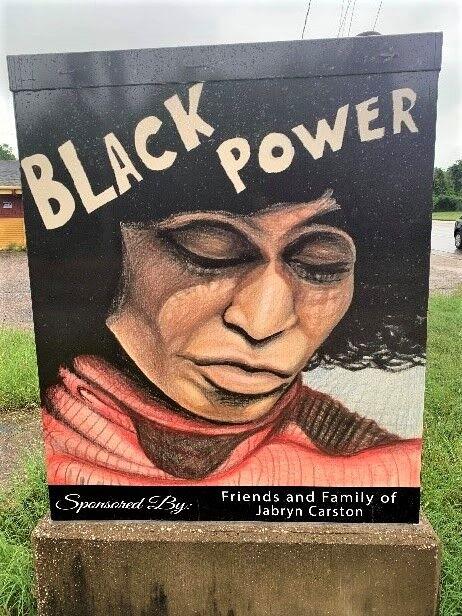 Jabryn Carston designs Black Power artwork to cover Tyler traffic signal box