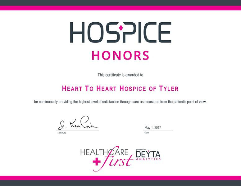 Heart to Heart Hospice of Tyler honored with award
