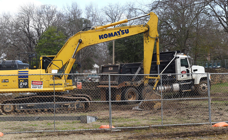 Equipment mobilizing to start Bergfeld Park Amphitheater project