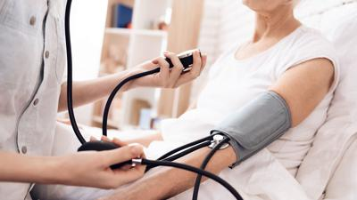 senior woman blood pressure