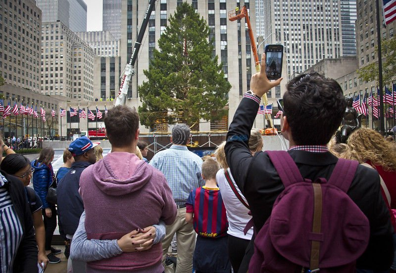 78-foot Christmas tree hoisted into place at Rockefeller Center