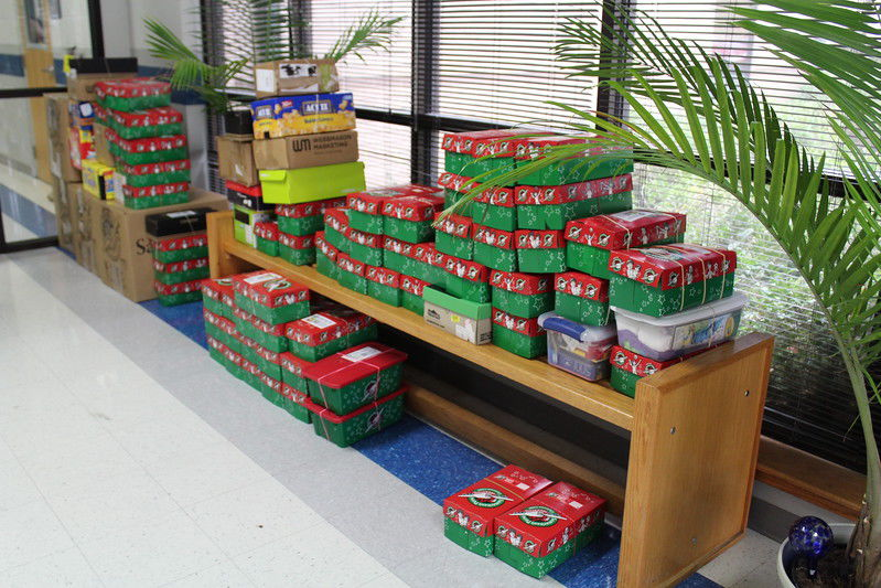 Grace Community High School, Faith Community Church collect shoeboxes for Operation Christmas Child