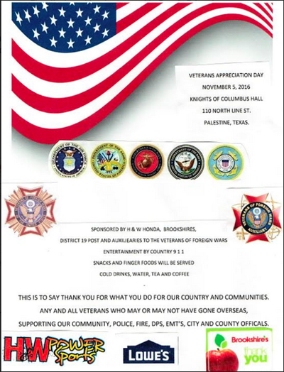 Veterans Appreciation Day event slated for Nov. 5