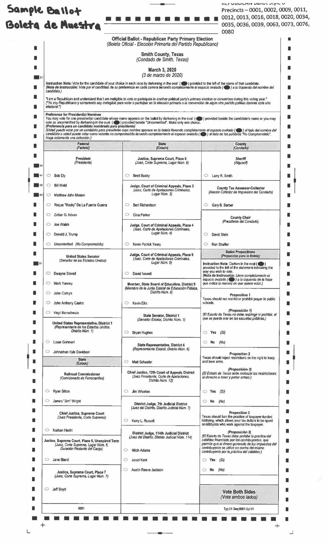 Republican Sample Ballot March 2020