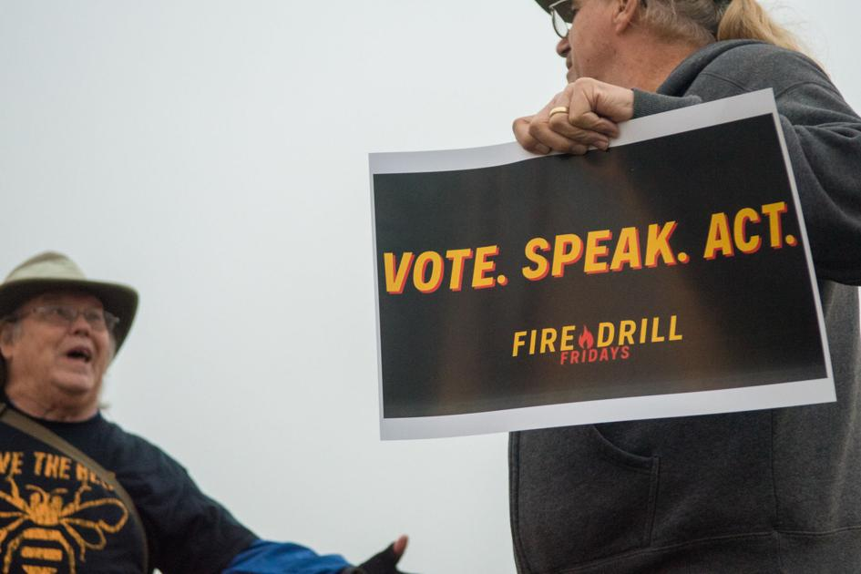 Local residents participate in Fire Drill Fridays protest to prod politicians on climate change