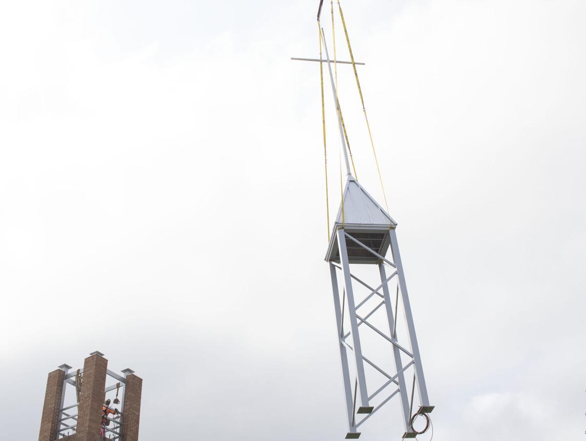 First Christian Church raises new bell tower