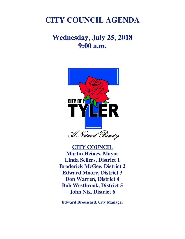 Tyler City Council Agenda - July 24, 2018