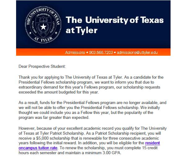 UT Tyler withdraws fullride scholarship offer to international