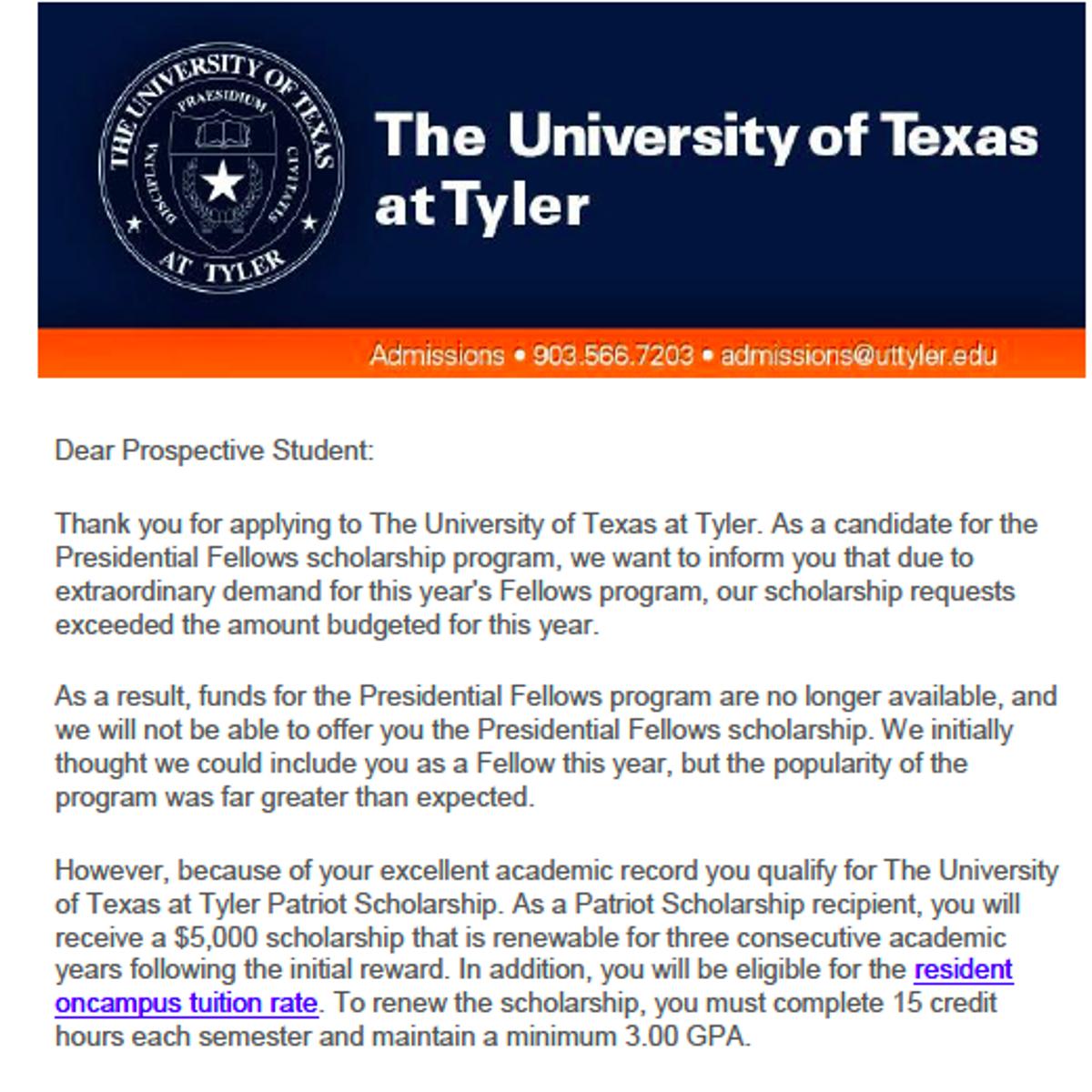 UT Tyler withdraws full-ride scholarship offer to