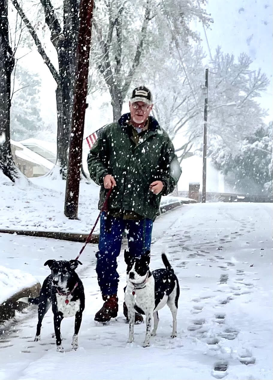 Pat Steigman walking Sugar and Cookie in the snow in Tyler 10 January 2021.