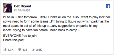 Dez Bryant hosting hometown barbecue in Lufkin today
