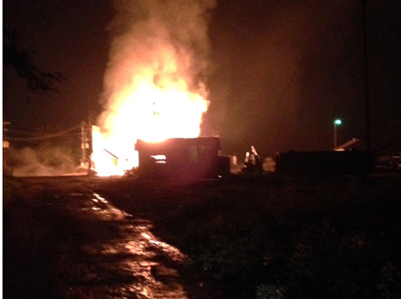 VIDEO: Firefighters letting oil field fire on County Road 313 burn itself out