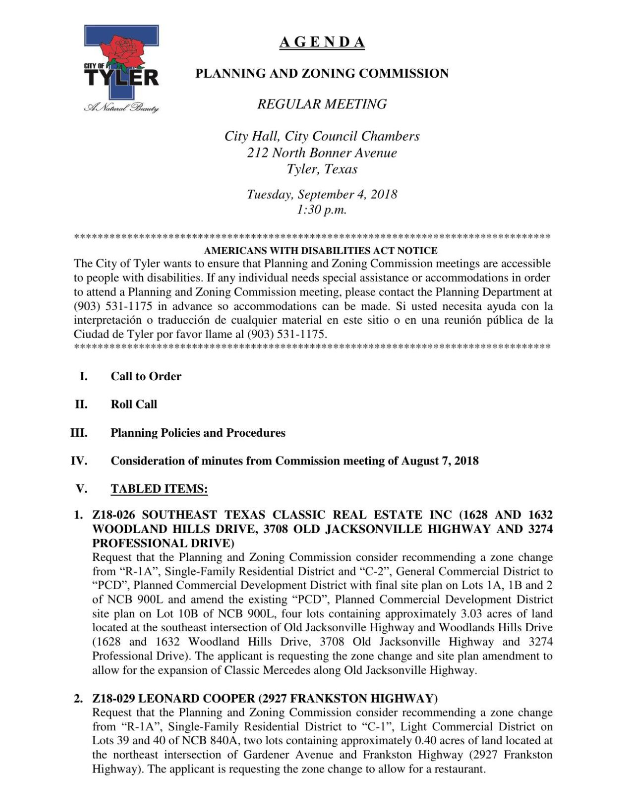 Download PDF Planning And Zoning Commission Agenda   Sept 4 2018