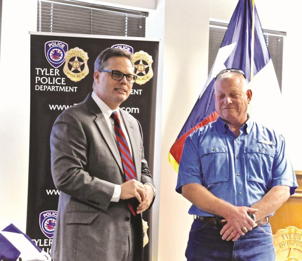 Officer retiring from Tyler Police Department after 31 years honored at ceremony on Friday