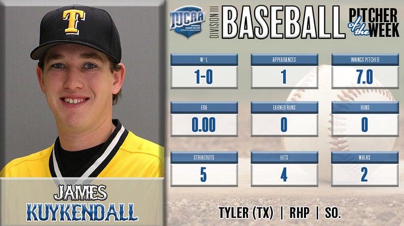 Tyler Junior College's Kuykendall, Broadway named NJCAA baseball players of the week