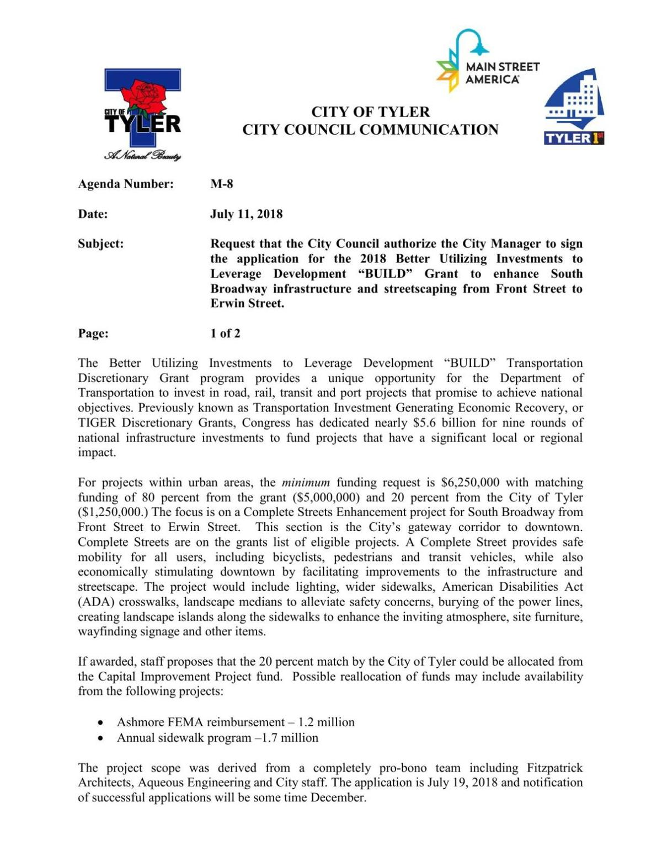 City of Tyler - BUILD Grant