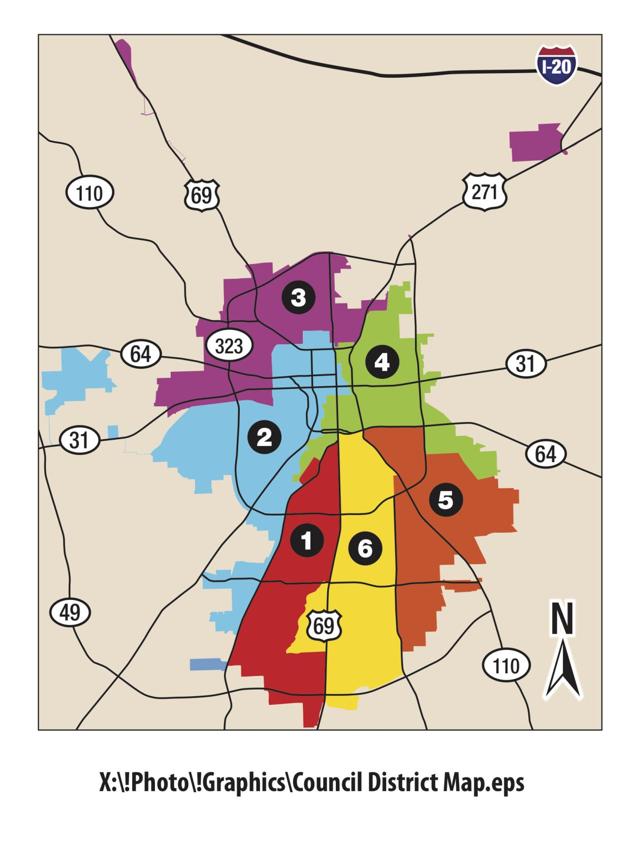 2019_Tyler_City_Council_District_Map