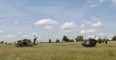 Blackhawk helicopter back in the air after making emergency landing in Troup field