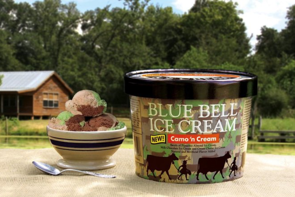 "Blue Bell announces new flavor ""Camo n' Cream"""
