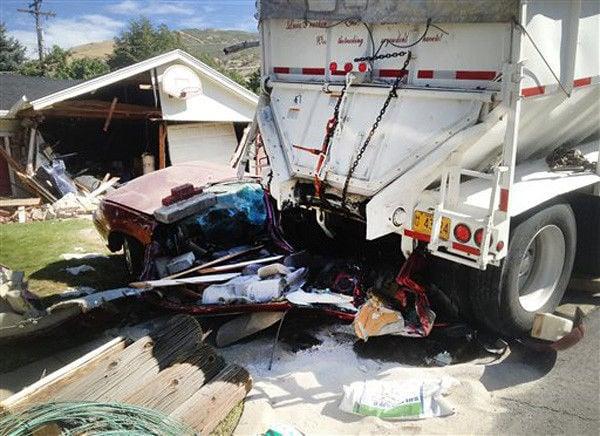 Runaway truck flattens vehicle, hits home in Utah