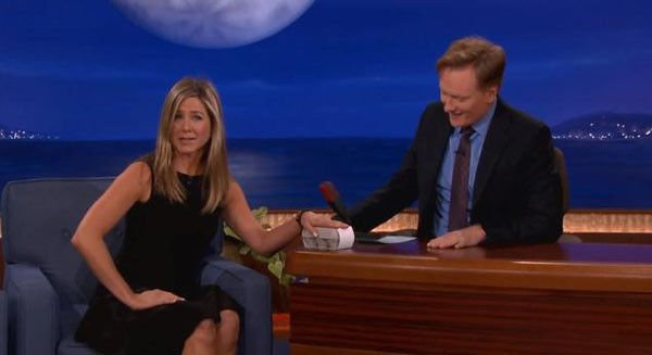 Jennifer Aniston pokes fun at pregnancy rumors: 'Everyone's talking about my eggs' The 44-year-old actress lightens the mood over the topic of her having children on Thursday night's 'Conan.'