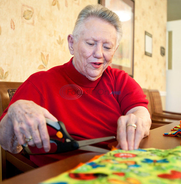 Busy Hands Full Hearts: Assisted Living residents stay active making blankets to supply local charities
